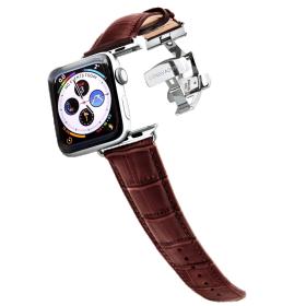 Longvadon Meeste kellarihm Apple kellale 42MM ja 44MM  - Pruun mahagon ja hõbedaste detailidega - M Size
