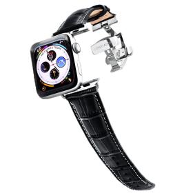Longvadon Meeste kellarihm Apple kellale 42MM ja 44MM  - Must ja hõbedaste detailidega - M Size