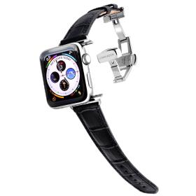 Longvadon Naiste kellarihm Apple kellale 38MM ja 40MM - Must ja hõbedaste detailidega - M Size